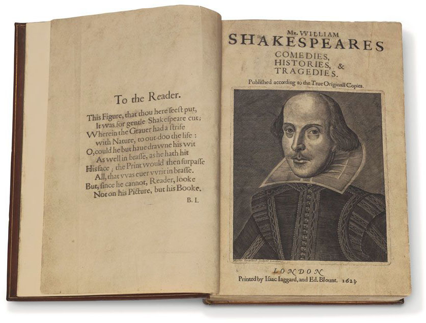 First Folio open to preface and title page