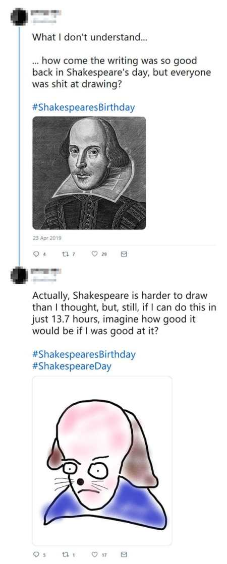 Inspirational tweets re Droeshout engraving on Willy's birthday 2019