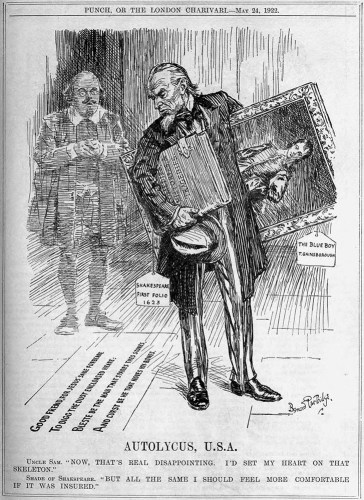 Autolycus USA cartoon, Punch, 24 May 1922 - 1623 Shakespeare First Folio auctioned
