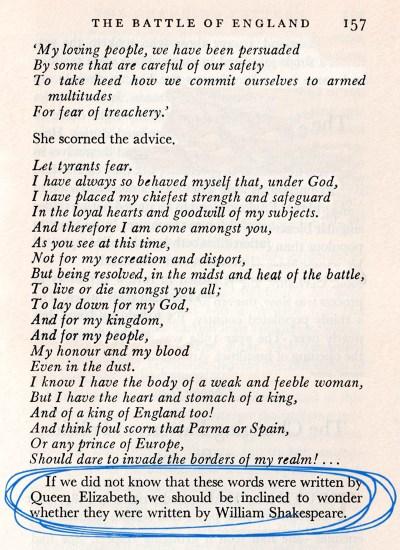 Tilbury blank verse circled