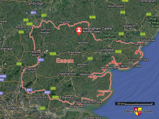 Essex boundary map with castle pin - deVere Hedingham ring auction