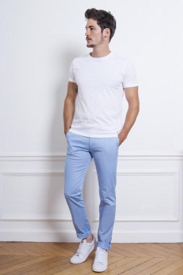 chino bleu pastel le pantalon