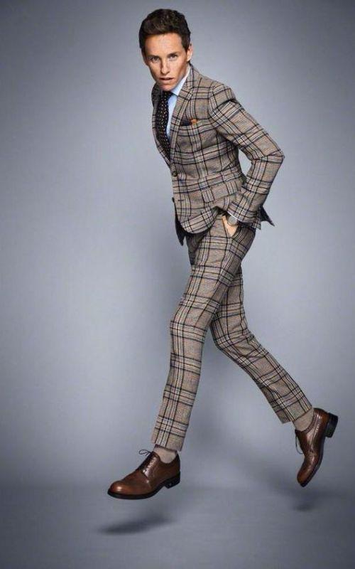 Stylé comme une star : À qui ressemblez-vous ? homme men tendance look dandy english anglais carreaux motifs eddie redmayne roux acteur célébrité