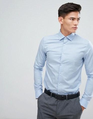 tenue homme chemise bleu reiss coupe slim