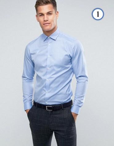 Tenue homme chemise bleu no iron