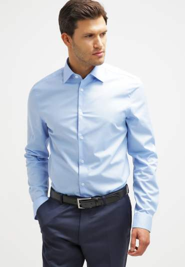 chemise bleu tenue homme col italien