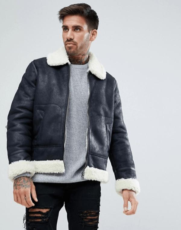 look et tenue pour homme manteau imitation peau de mouton