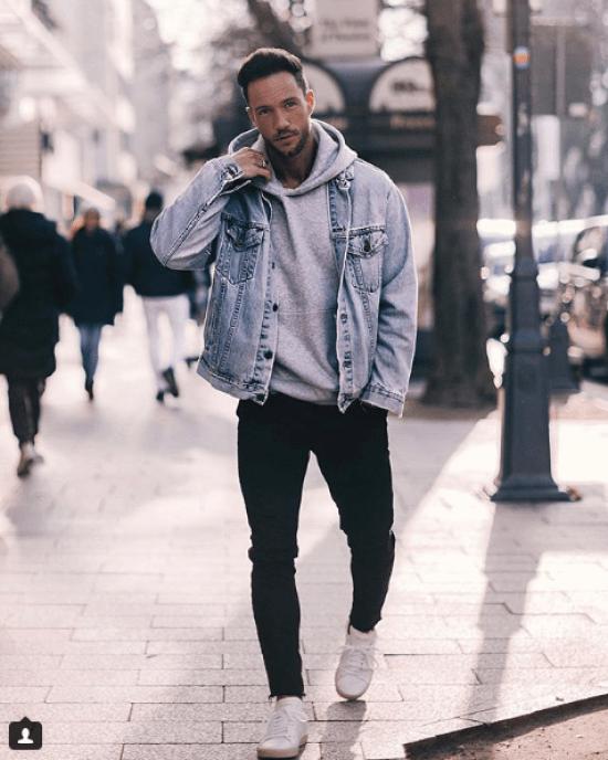 comment bien porter le sweat-shirt et la veste en jean