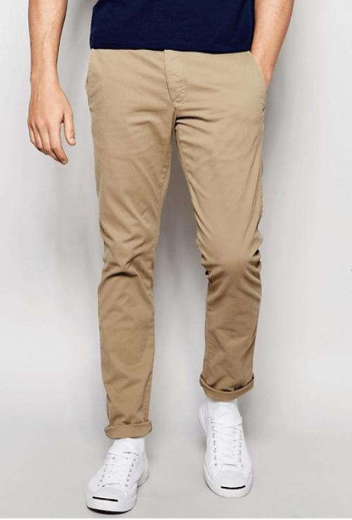Pantalon beige Selected look homme