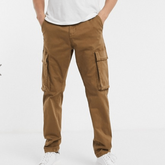 Pantalon cargo à poches marron homme slim