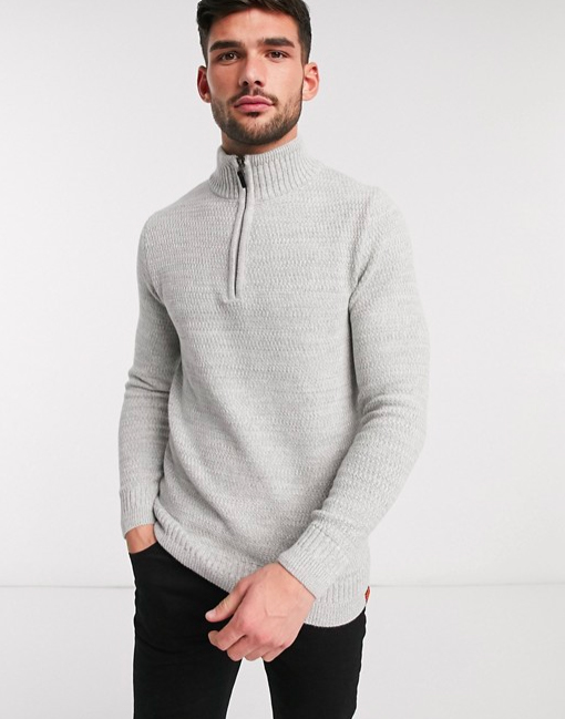 pull Gris clair Superdry  Keystone  fermeture éclair