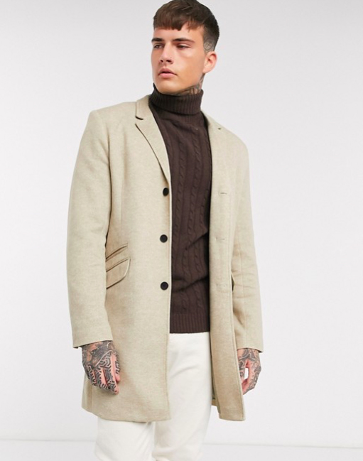 Manteau beige sable long homme élégant only&sons Jersey
