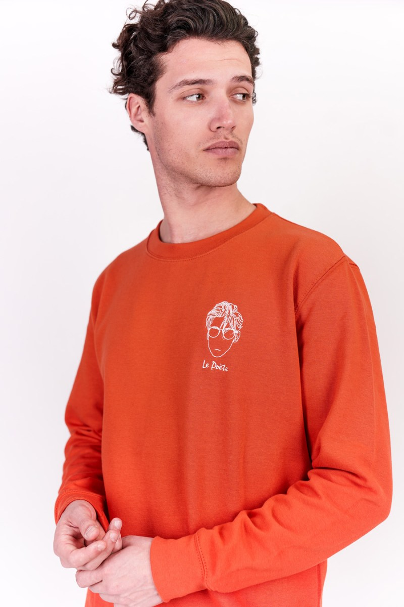 Sweat-shirt homme made in France broderie orange
