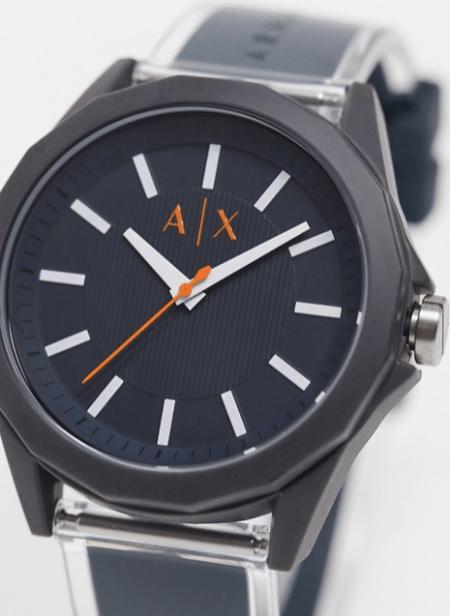look de la semaine montre Armani cuir