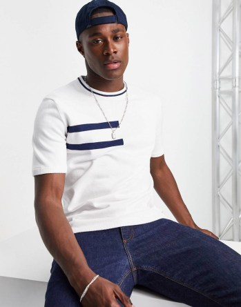 Look de la semaine 40 T-shirt blanc à col bleu marine
