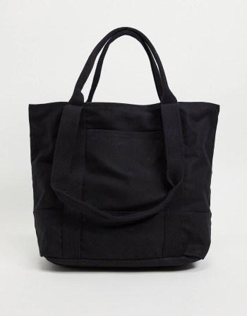 Sac tote bag oversize en coton noir ASOS DESIGN