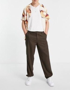 Idée de look 49 Pantalon ample en lin marron ASOS DESIGN