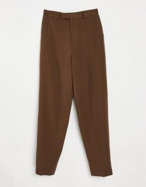 Pantalon slim taille haute marron ASOS DESIGN