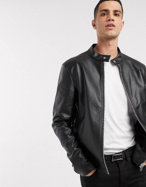 Blouson style pilote imitation cuir noir ASOS DESIGN