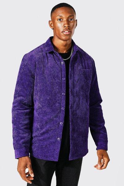 Velours violet surchemise homme