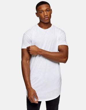 T-shirt long blanc Topman