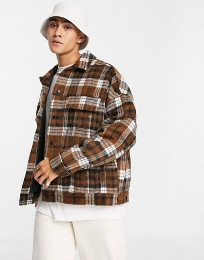 Vestes tendances pour la rentrée Veste western oversize à carreaux en laine mélangée ASOS DESIGN