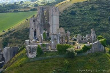 Las ruinas de Corfe Castle, vistas desde el Este. Las personas que se ven en la foto permiten percatarse del tamaño real del castillo.