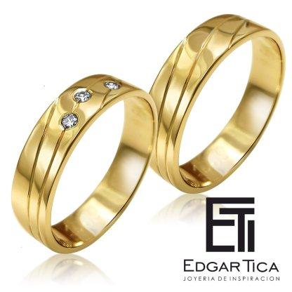 Anillo de matrimonio de oro amarillo 18k