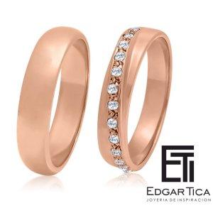 Aros de boda de oro rosado 18k