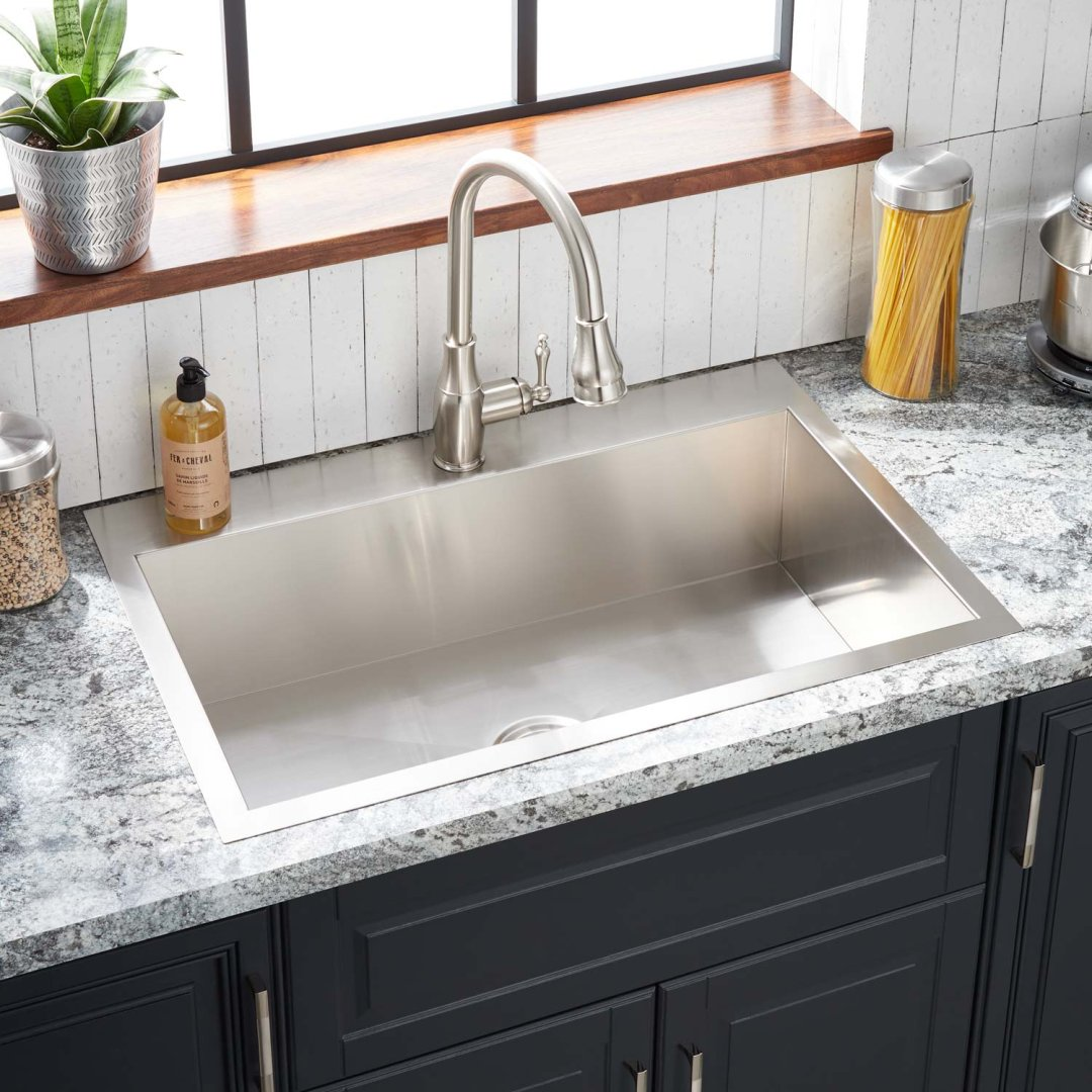 33 sitka stainless steel drop in kitchen sink single hole