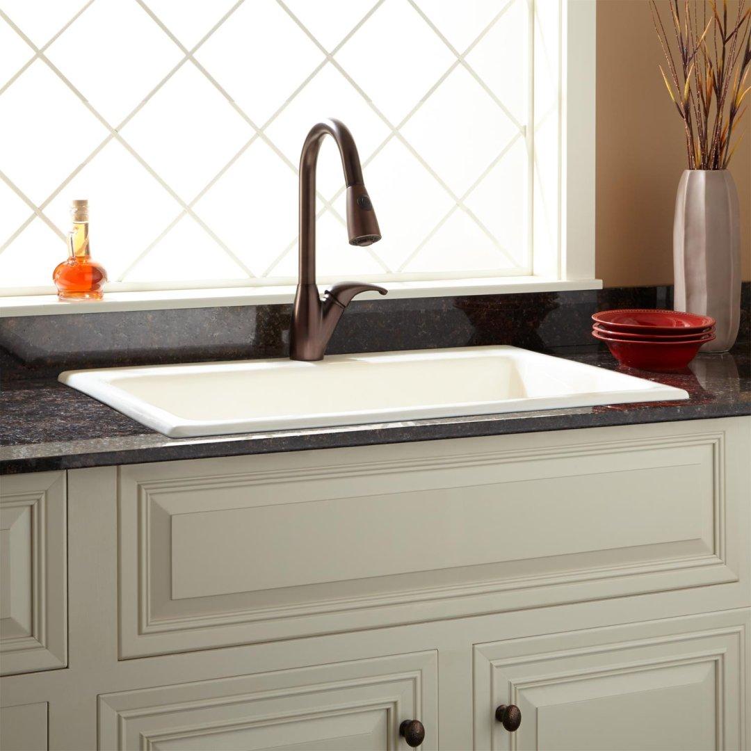 33 palazzo cast iron drop in kitchen sink biscuit