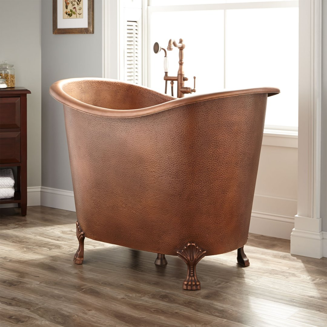 48 abbey hammered copper double slipper clawfoot soaking tub