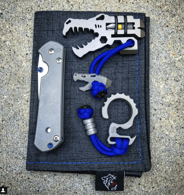Chris Reeve Sebenza knife, Vice Anvil Tactical Jurassic Croc tool and bead, Koch Tools Culprit with Ti Survival bead, Lion Tribe Armory hank