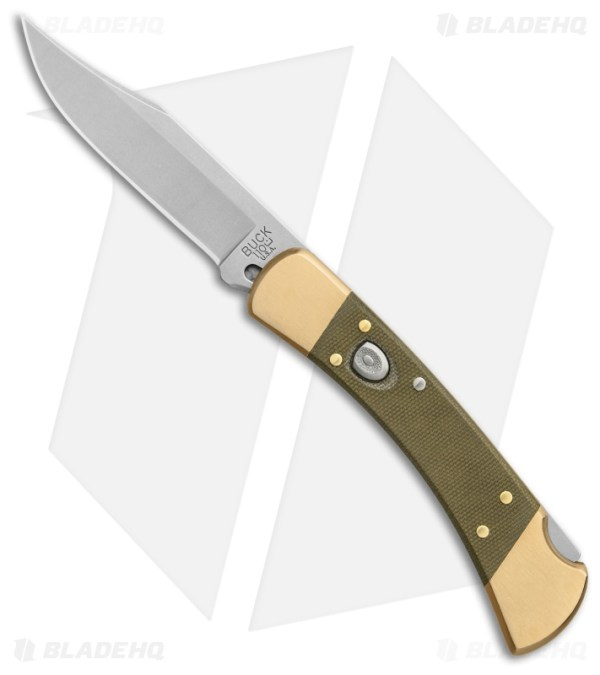 Buck 110 Automatic BladeHQ Exclusive in OD Canvas Micarta and Brass