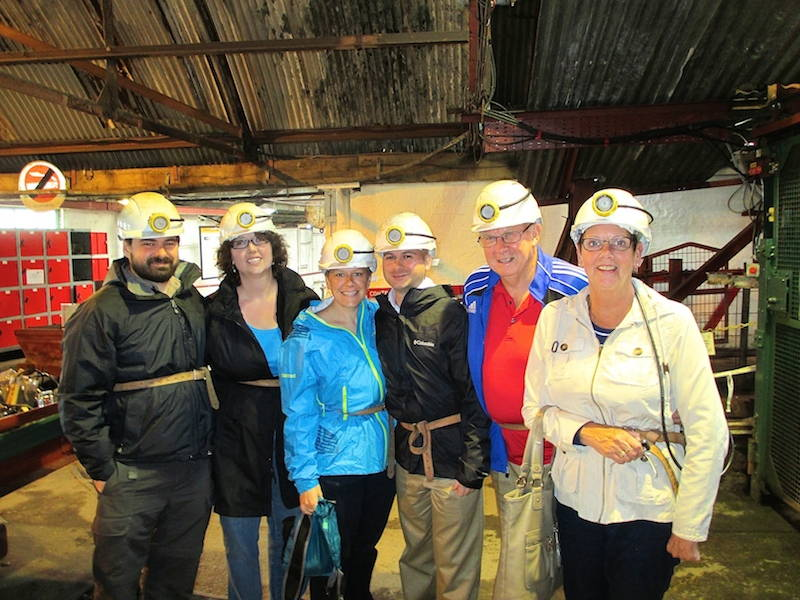 The Davey family and friends getting ready to descend 300 feet into The Big Pit mine. I am first on the left; my dad, Tony, is second from the right. Click to enlarge. (Davey, 2014)