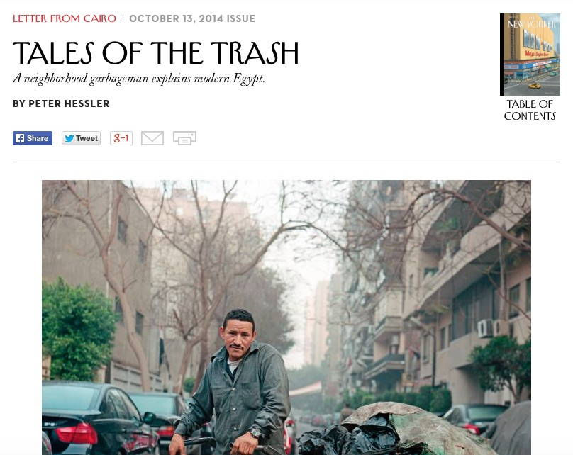 """""""Tales of Trash"""" by Peter Hessler published in the October 13 2014 issue of the New Yorker"""