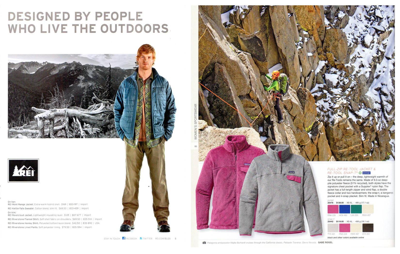 REI Catalog 2012, p.11; Patagonia Alpine Catalog 2012, p.66