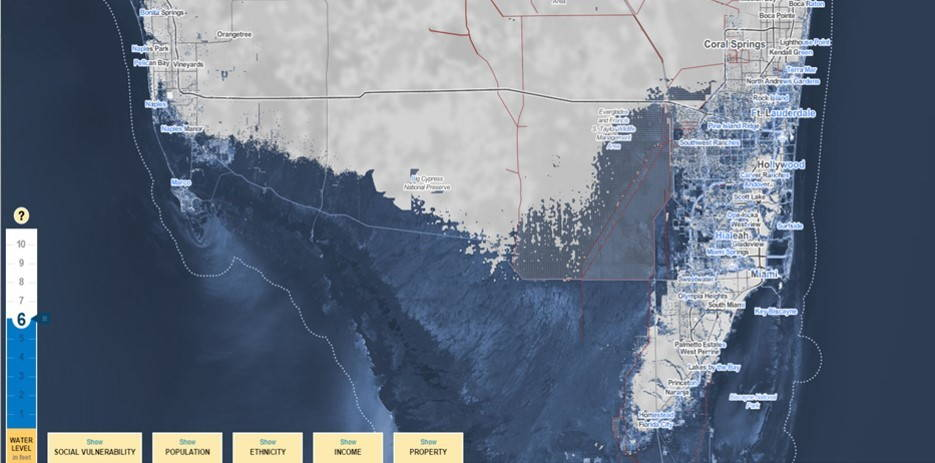 """Surging Seas: A """"worst case scenario"""" increase of 6 feet will inundate most of the Everglades of Southern Florida, an important habitat for plants and animals living on the edge of land and water. Storm surges up to 10 feet could convert the Miami metropolitan area into an intermittent archipelago."""