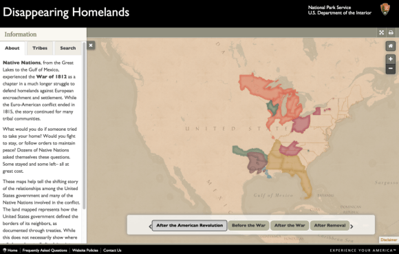 Disappearing Homelands, a Park Service web map currently under construction. Image courtesy of Mamata Akella.