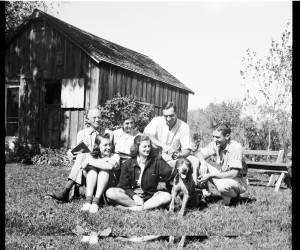 """Aldo Leopold and family at their cabin. Courtesy of the <a title=""""Aldo Leopold Foundation"""" href=""""www.aldoleopold.org"""" target=""""_blank"""">Aldo Leopold Foundation</a>. Click to enlarge."""