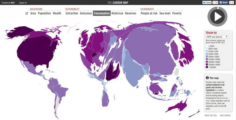 Map 2: Visitors to CarbonMap.org can interactively engage with the map to visualize different measures of carbon emissions, one indicator of the Anthropocene.