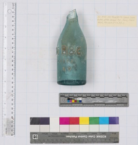 Glass bottle circa 1860 from M.B. & Co., John Halpern, ES 1978.151.03.1, Empire Stores archaeology collection, New York State Office of Parks, Recreation and Historic Preservation.