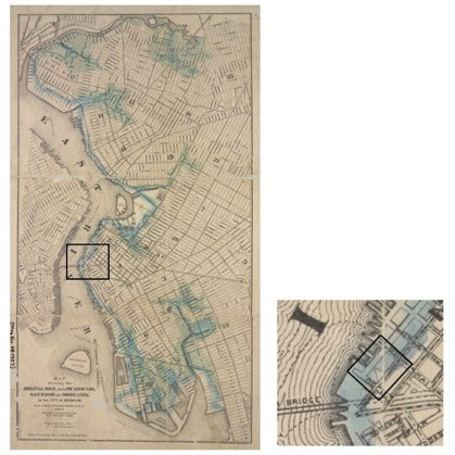 """This 1876 map shows Brooklyn's original waterline, with a detail of the block occupied by the Empire Stores. Water Street, the eastern boundary of the Empire Stores block, is approximately located along the ancient water line. Brooklyn Board of Health, """"Map showing the original high and low grounds, salt marsh and shore lines in the city of Brooklyn,"""" 1876; New York Public Library."""