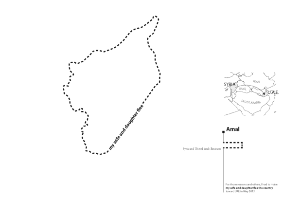 Figure 7: The fourth map in the series depicts a more recognizable shape: the border of Syria. This is the first traditional border discussed by Amal. By Meghan Kelly.