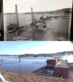 Top: Building the coffer dam, 1911. Photo: Frank Eberhart, Courtesy of the Wisconsin Historical Society. Bottom: Prairie Du Sac dam looking Northeast, 2016. Photo: Rob Lundberg.