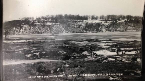 Looking West along future dam site, 19111. Photo: Frank Eberhart, Courtesy of the Wisconsin Historical Society.