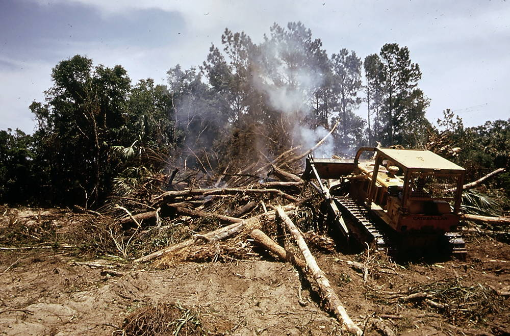 A bulldozer clearing forestland for a golf course on Seabrook Island, a private oceanfront community built in the same style as Sea Pines Plantation. Photo by Paul Conklin, U.S. Environmental Protection Agency, 1973.