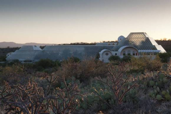 The sun sets on Biosphere 2 and the Sonoran Desert. Photo by Dana Fritz.