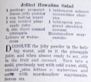The recipe for Jellied Hawaiian Salad.