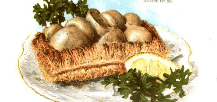 Mushrooms in shredded wheat biscuit baskets